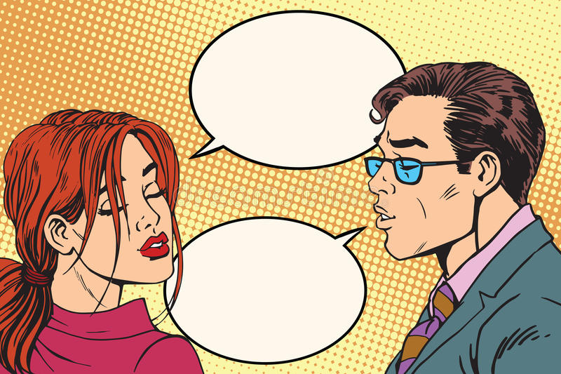 在亲吻前的男性和女性对话 皇族释放例证