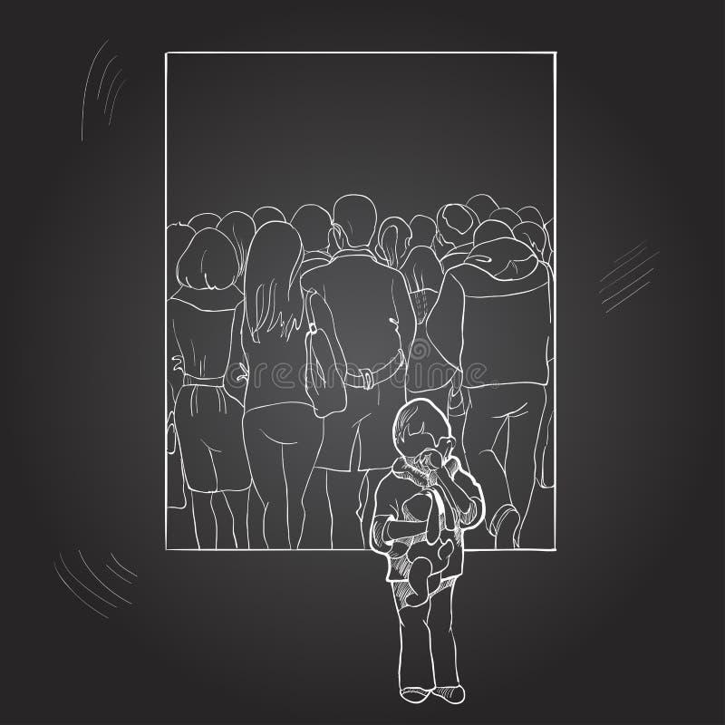 在人中人群的一个孤独的男孩  用手画在黑板 免版税图库摄影