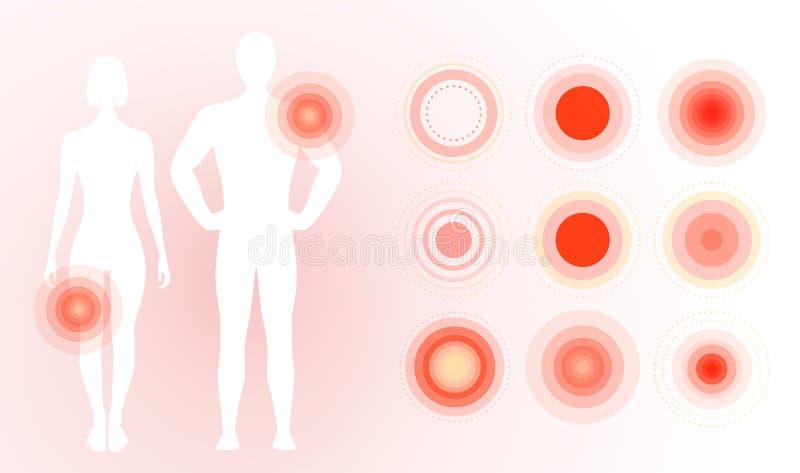 在人体的痛苦象 红色痛苦圆环,同心圆 平的简单的构思设计 被隔绝的传染媒介例证  库存例证