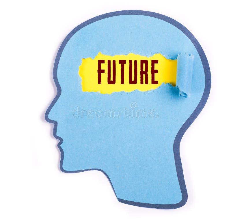 在人头的未来词 库存图片
