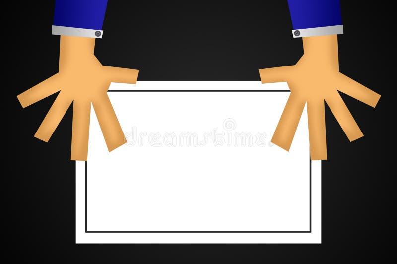 在人手例证背景的纸 库存例证