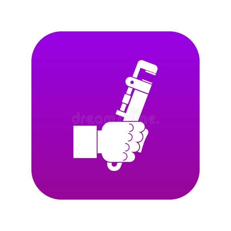 在人手象数字紫色的引形钢锯 皇族释放例证