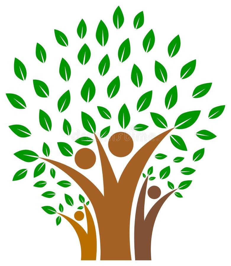 在人树商标家庭的团结  库存例证