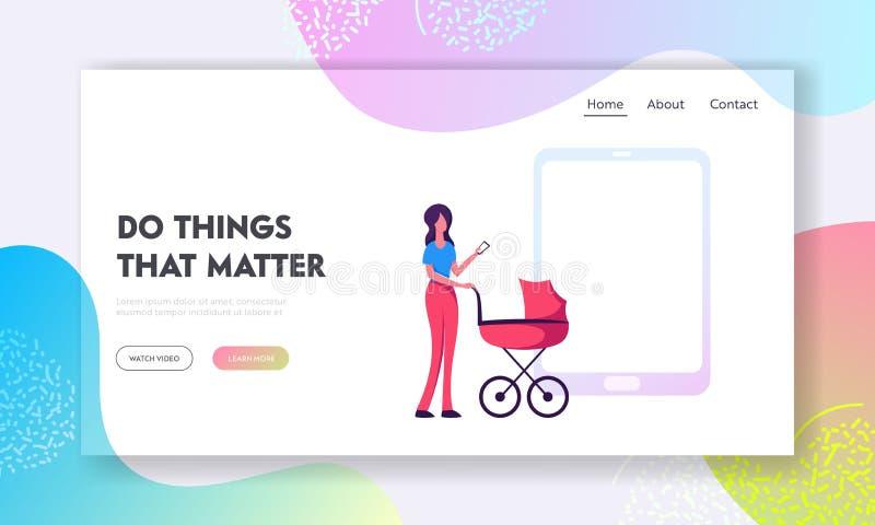 在人生网站着陆页,有婴儿车立场的妇女的聪明的技术在使用电话的巨大的智能手机 库存例证