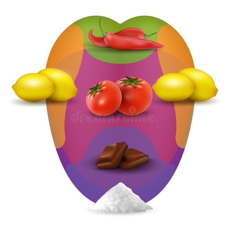 在人的嘴的视觉品尝的地图用食物 现实mouht用柠檬,辣椒,盐,蕃茄 向量例证