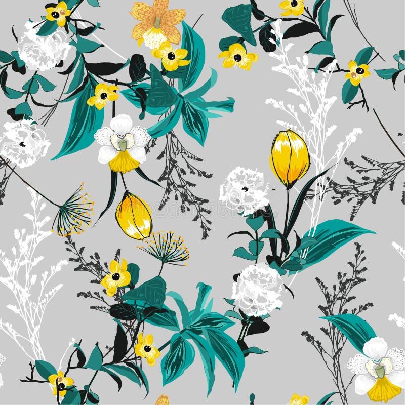 在人的夏天开花的五颜六色的森林庭院花卉样式 库存例证