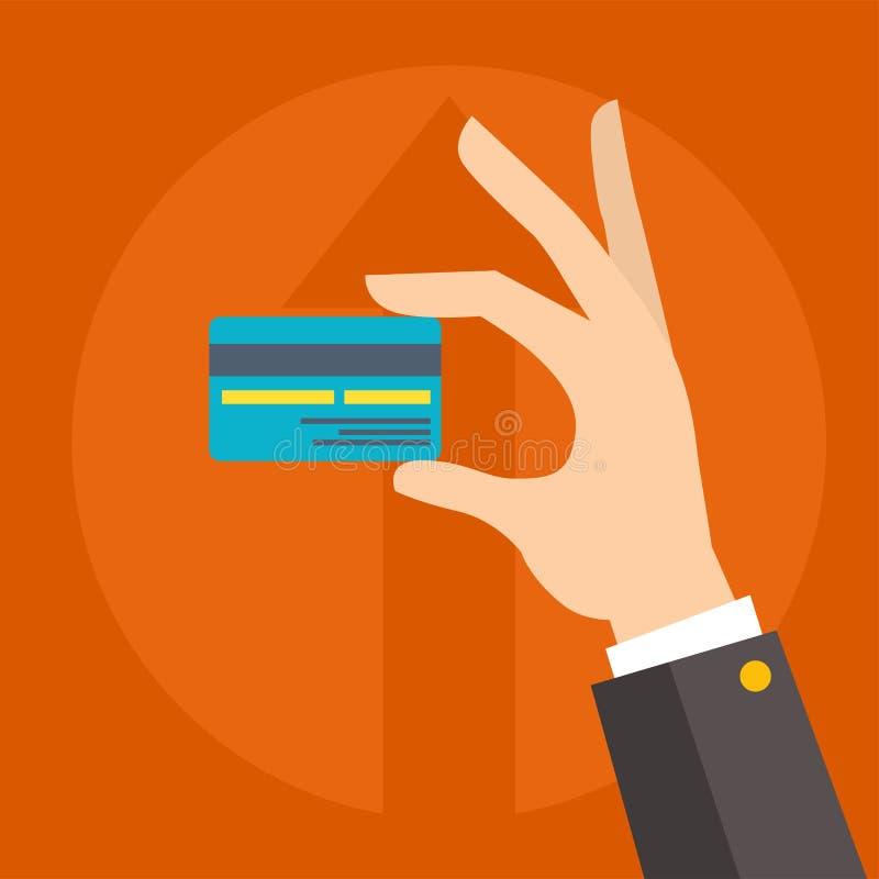 在人的手企业硬币的平的传染媒介金钱信用卡付款商务例证的 向量例证