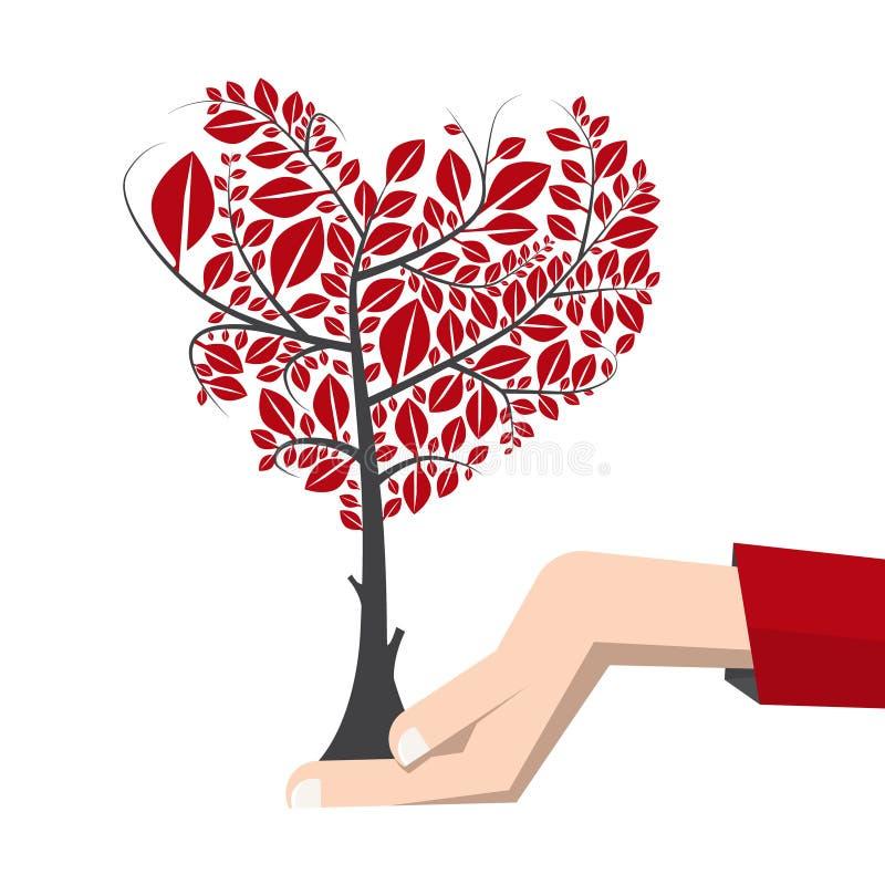 在人的手传染媒介世界地球日标志的树 皇族释放例证