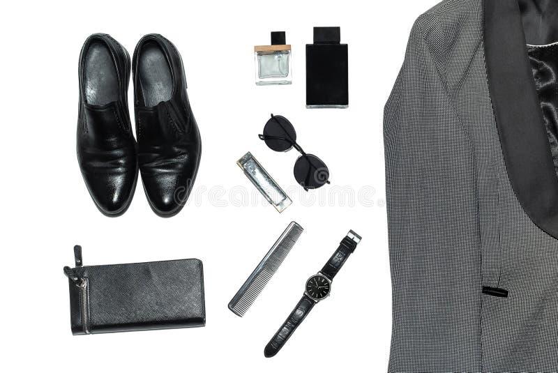 在人的样式、时尚、衣物和样式的顶视图 图库摄影