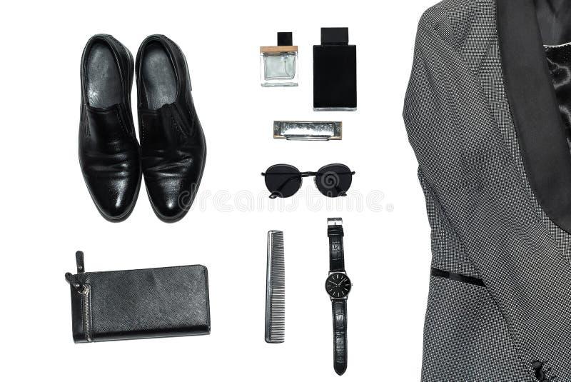 在人的样式、时尚、衣物和样式的顶视图 库存照片
