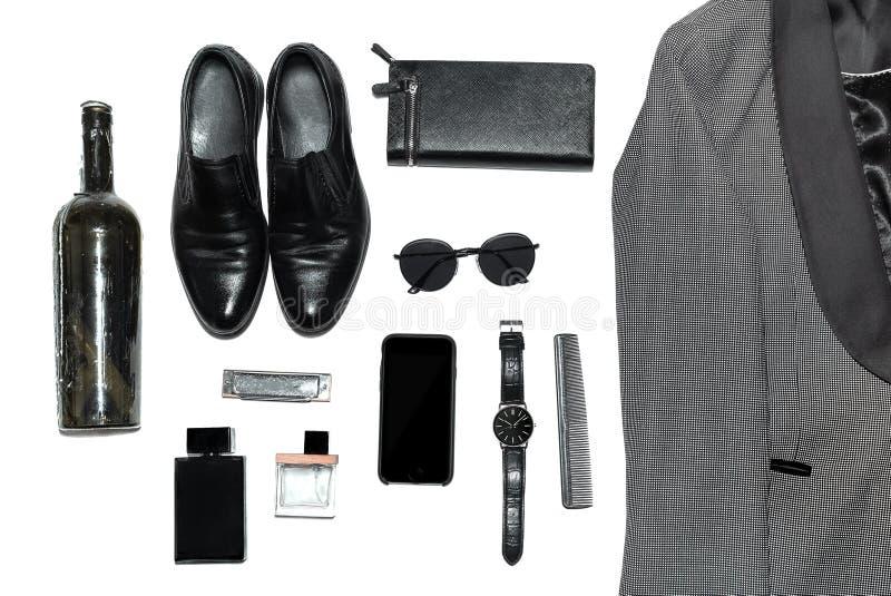 在人的样式、时尚、衣物和样式的顶视图 免版税库存图片