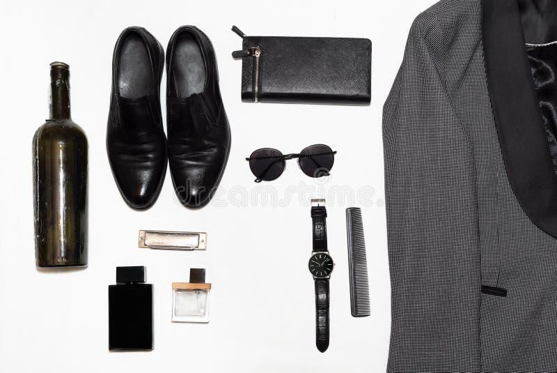 在人的样式、时尚、衣物和样式的顶视图 免版税图库摄影
