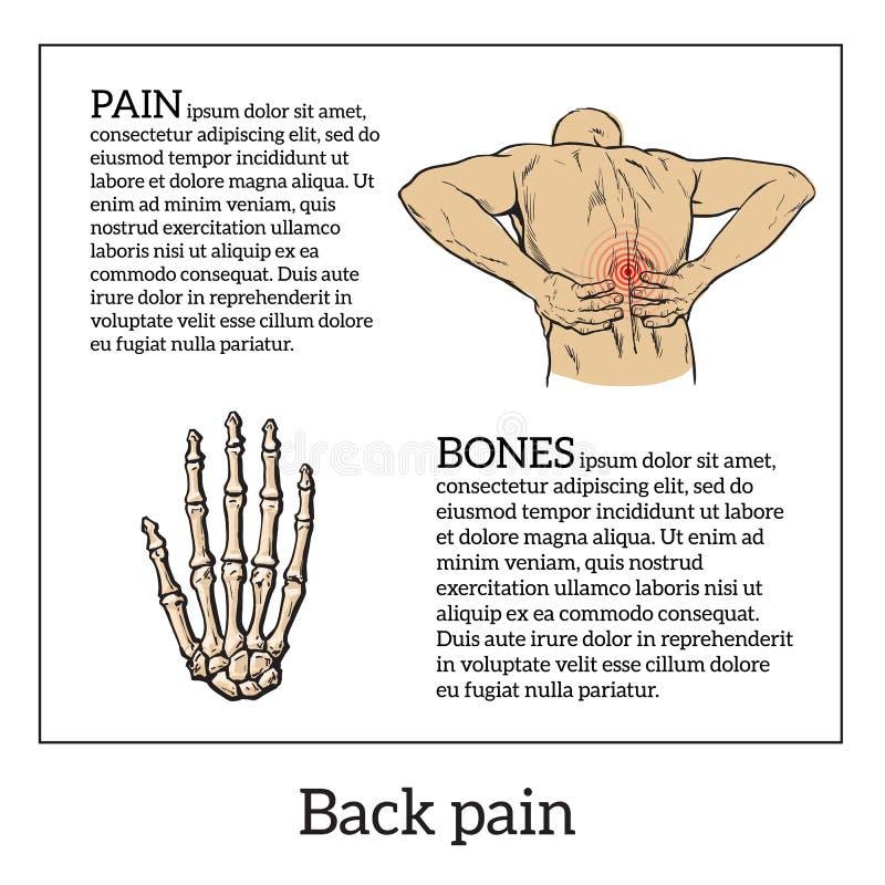 在人的腰下部痛,黑白剪影 库存例证