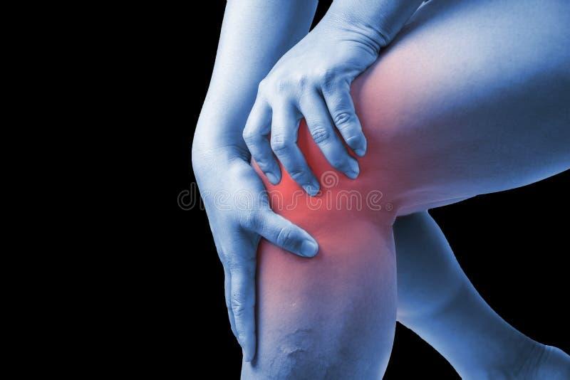 在人的膝伤 膝盖痛苦,医疗关节痛的人,星期一 免版税图库摄影