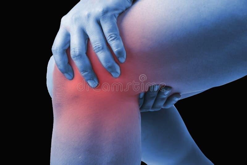 在人的膝伤 膝盖痛苦,医疗关节痛的人,星期一 免版税库存图片