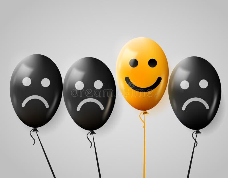 在人群的一张愉快的面孔哀伤 愉快和哀伤的气球 库存例证