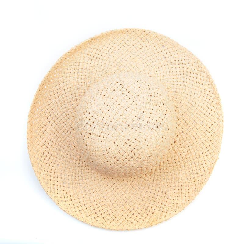 在从一张侧视图被隔绝的白色背景海滩帽子的俏丽的美丽的草帽-图象 免版税库存图片