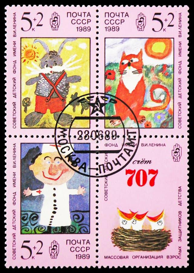 在从列宁儿童的资金serie的苏联打印的四邮票,大约1989年 免版税图库摄影