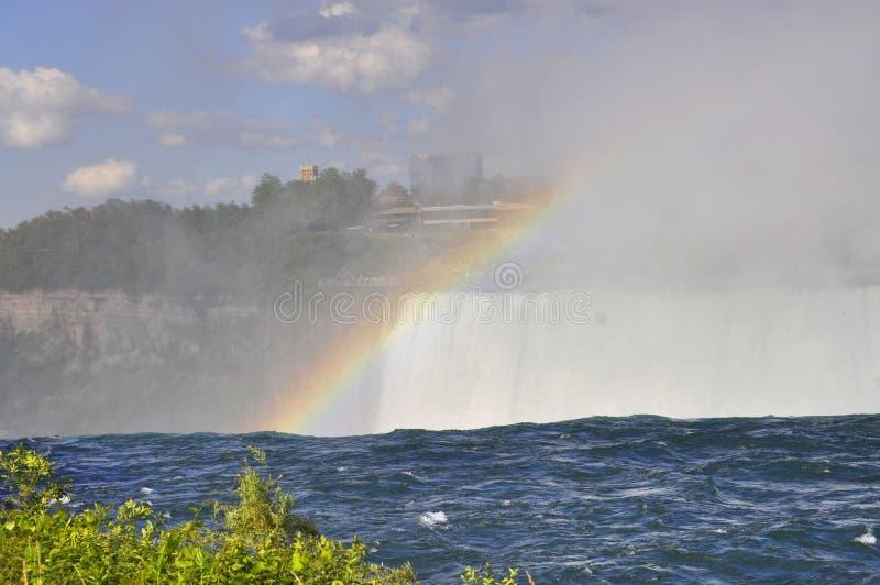 在从加拿大边看见的尼亚加拉瀑布的彩虹 库存照片