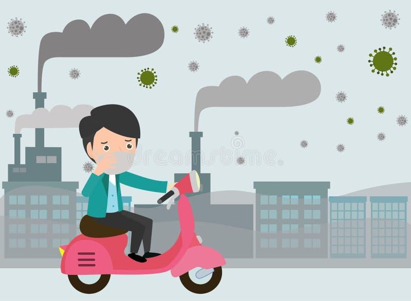 在他们的摩托车的人骑马 反对烟雾的人佩带的面具 美好的尘土,空气污染 皇族释放例证