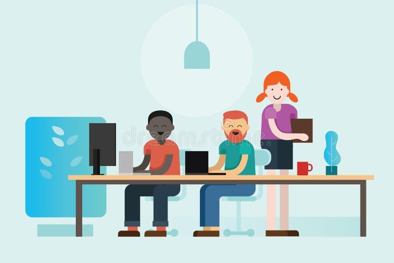在他们的膝上型计算机新运作公司合作平的动画片例证的共同工作的人民 向量例证