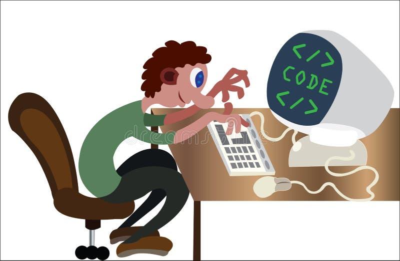 在他的个人计算机的程序员 向量例证