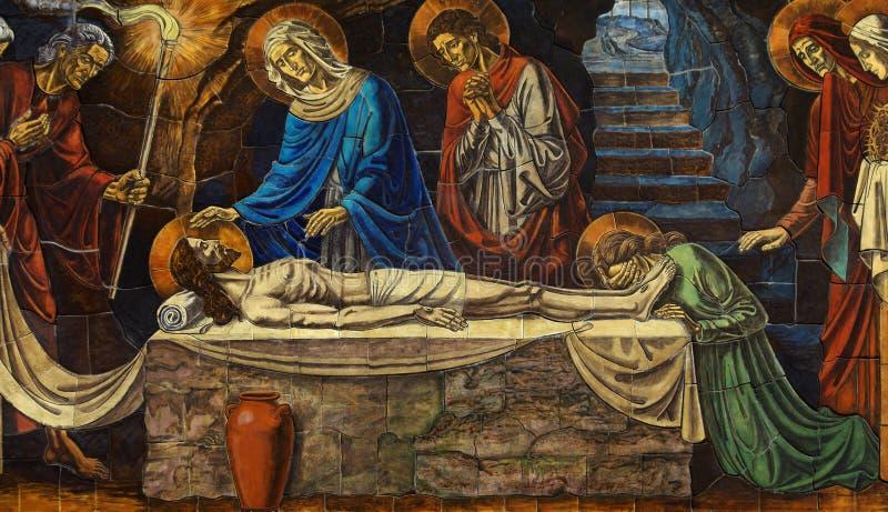 在他的坟墓的死亡耶稣与玛丽,抹大拉的马利亚和其他 免版税库存图片