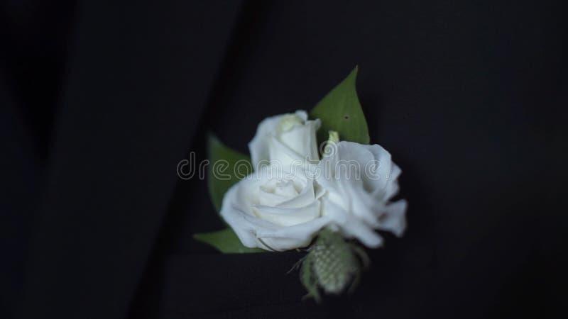 在他的夹克口袋特写镜头的白花 新郎钮扣眼上插的花调整他的在夹克口袋的手 时髦和经典 库存图片