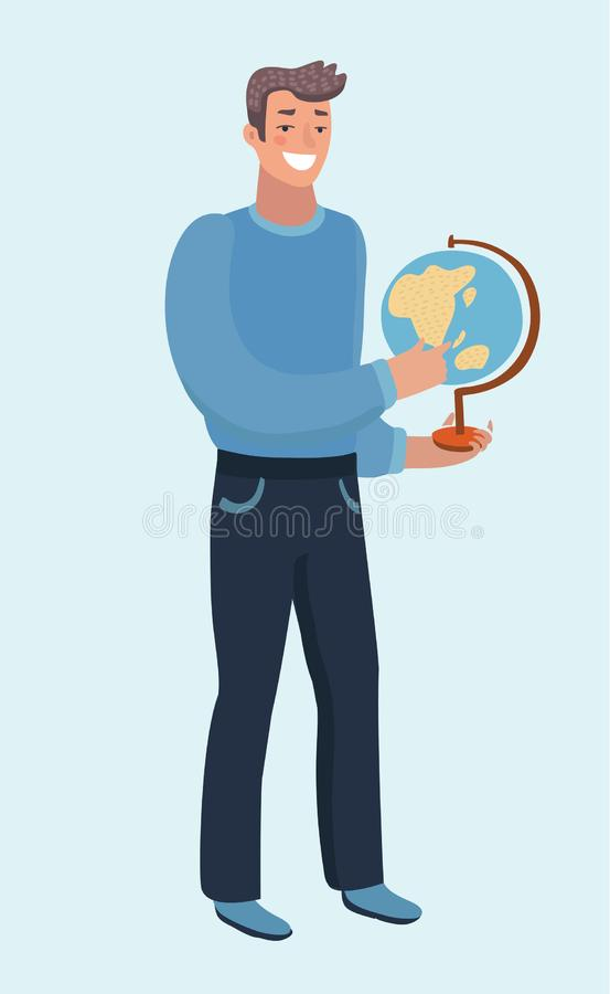 在他的手上的商人的被隔绝的平的传染媒介例证拿着地球地球 库存例证