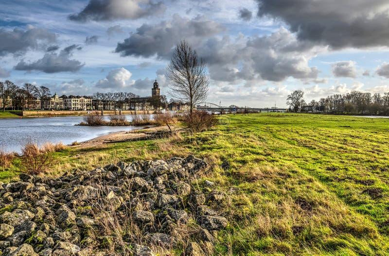 在代芬特尔附近的洪泛区 免版税图库摄影