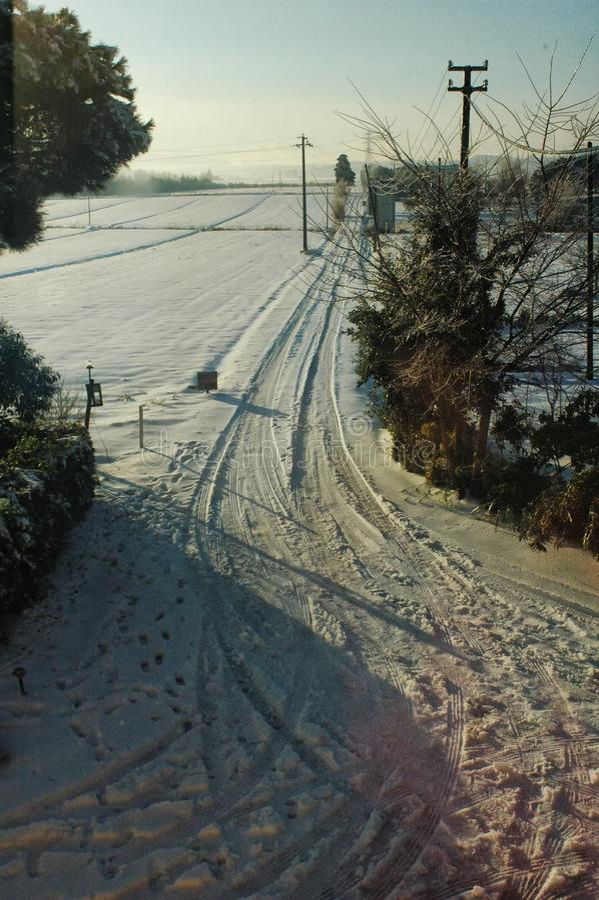 在以后的乡下巨大降雪 免版税库存图片