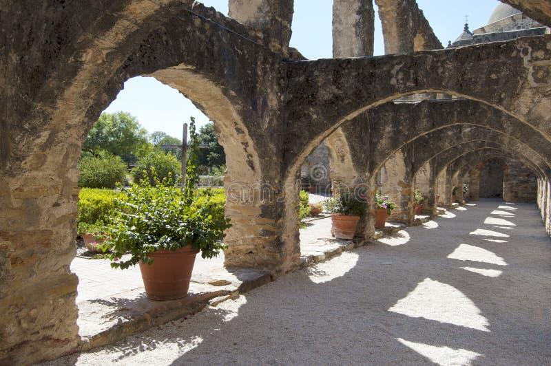 在任务圣约瑟,圣安东尼奥,得克萨斯,美国的Convento 免版税库存照片