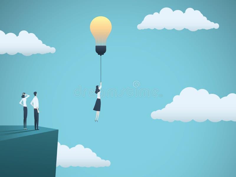 在企业传染媒介概念的创造性的想法与飞行与ligthbulb的女实业家 创造性,启发的标志 向量例证