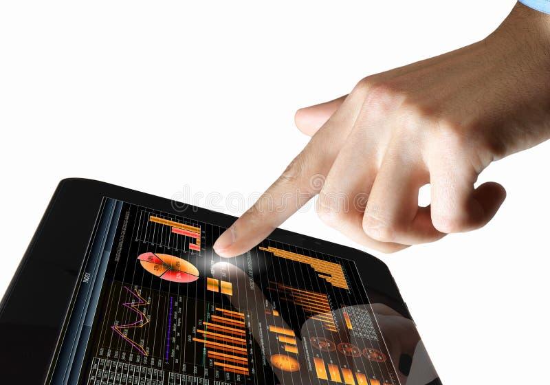 在事务的现代计算机科技 免版税库存照片