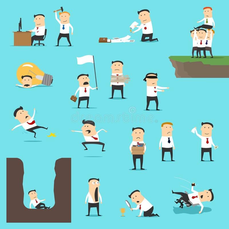在企业倒闭情况的商人 向量例证