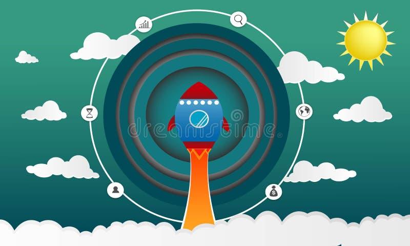 在企业概念想法的纸样式与对天空例证的火箭发射 皇族释放例证
