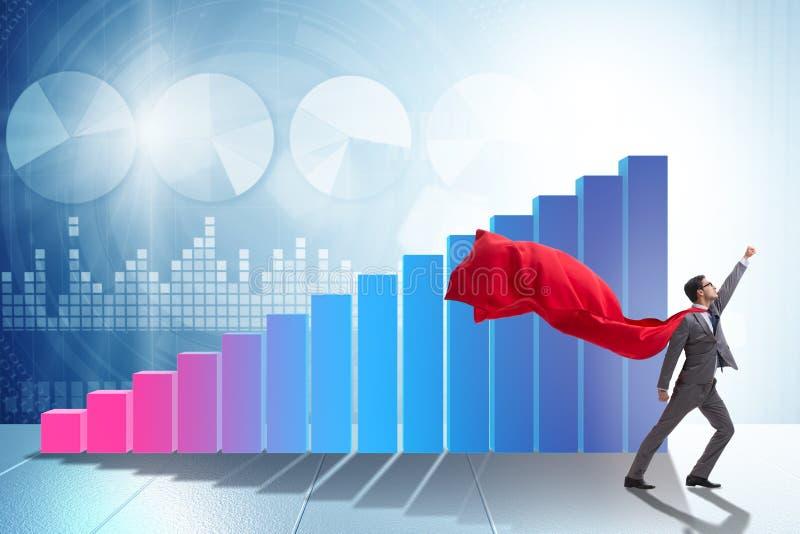 在企业概念的年轻商人与长条图 向量例证