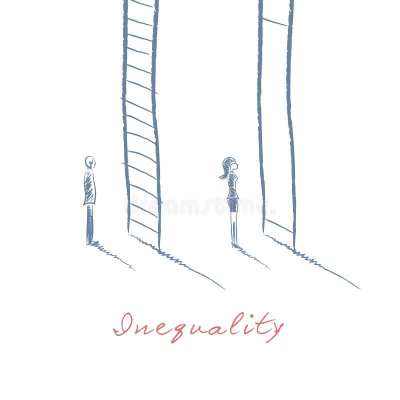 在企业概念的性别问题与站立在事业公司梯子前面的商人和女实业家 向量例证