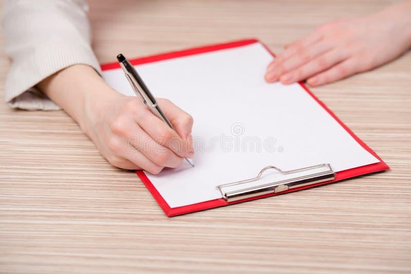 在企业概念的手文字备忘录 免版税库存照片