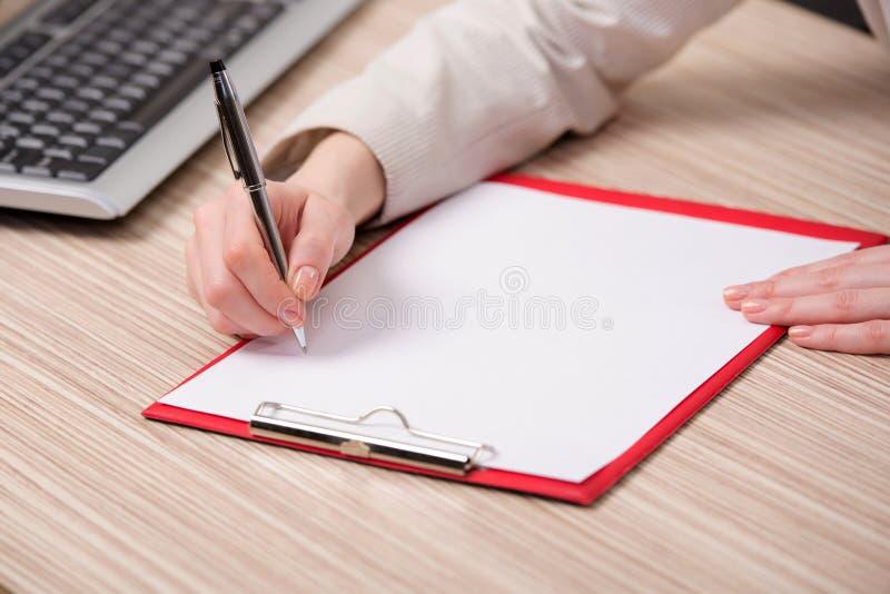 在企业概念的手文字备忘录 免版税图库摄影