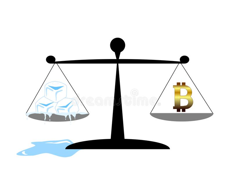 在企业概念的货币不稳定 Bitcoin和熔化的冰块在平衡等级 也corel凹道例证向量 库存例证