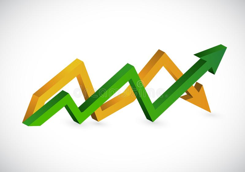 在企业箭头图上下 向量例证