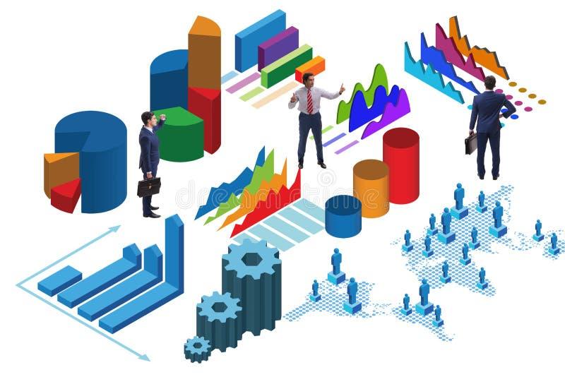在企业逻辑分析方法infographics概念的商人 库存例证