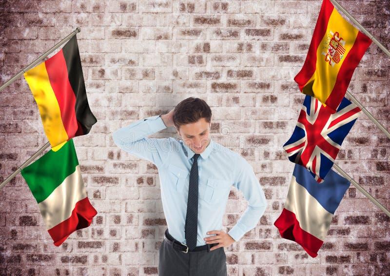 在企业年轻人附近的主要语言旗子 砖墙背景 向量例证