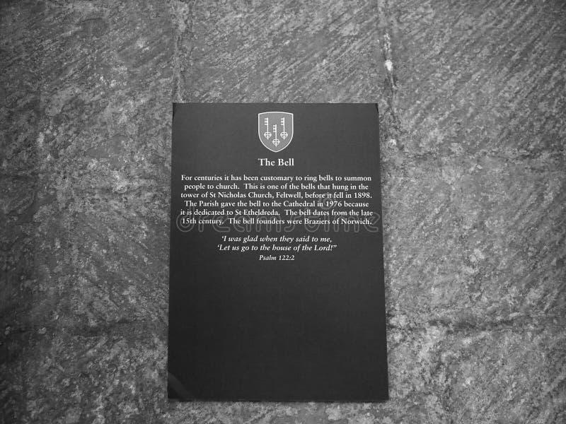 在伊利座堂的响铃黑白的 库存图片