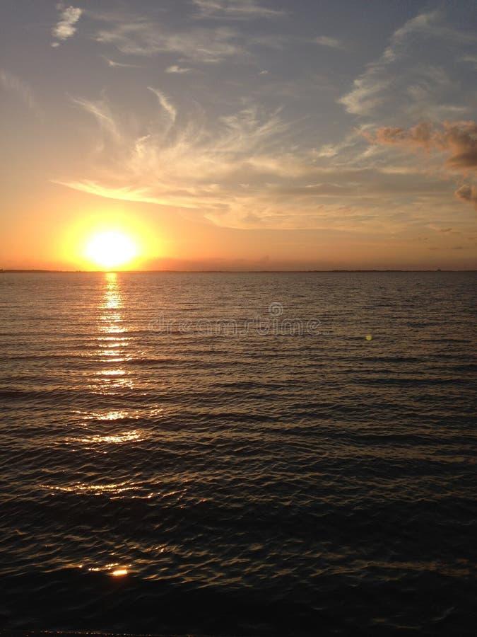 在伊利湖的日落 库存图片