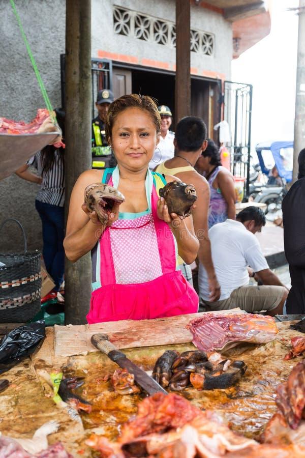 在伊基托斯,秘鲁胡闹在Belen市场上卖的肉 免版税库存图片