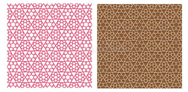在伊斯兰教的样式传染媒介的无缝的几何样式 库存例证