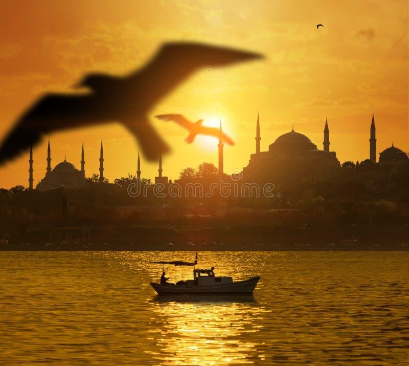 在伊斯坦布尔剪影的日落 免版税库存图片