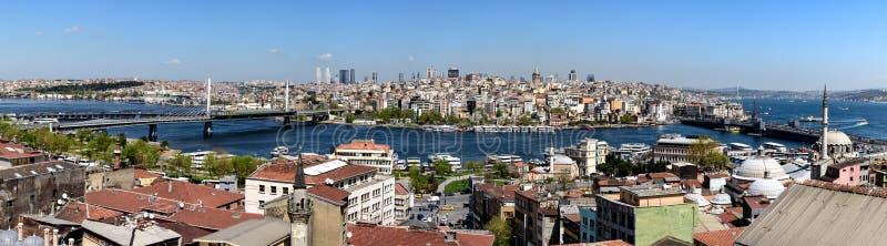 在伊斯坦布尔,土耳其的全景 免版税库存照片